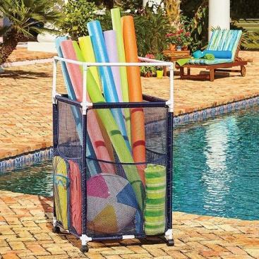 Poolside Storage Bin Large Box Float Pool Toy Organizer Mesh Basket Rolling Cart #PoolEssentials