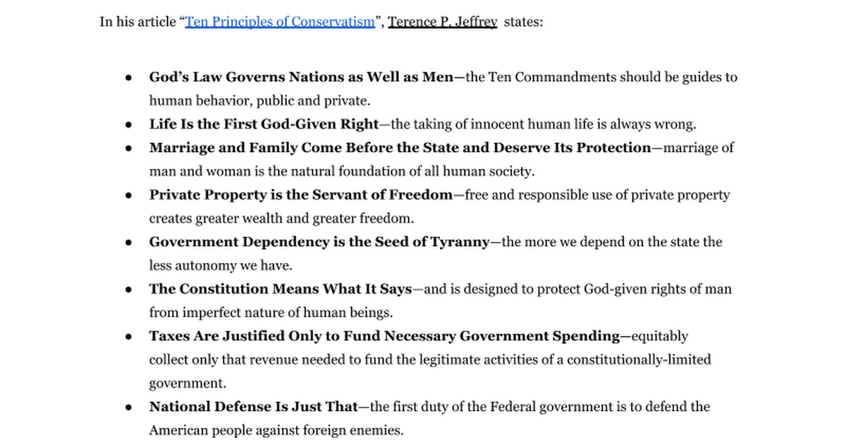 "the ten principles of conservatism essay ""conservatives are champions of custom, convention, and continuity because they prefer the devil they know to the devil they don't know,"" russell kirk writes in his timeless essay, ""ten conservative principles."