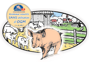 """Le Porc Fermier Cénomans Label Rouge : Indication Géographique Protégée """"Porc de la Sarthe"""", animaux nourris sans utilisation d'OGM"""
