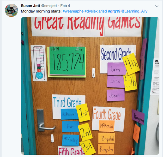 Resource teacher's classroom door celebrating the GRG achievements of and encouraging students in various grades