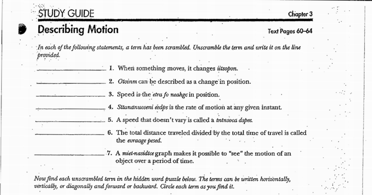 Describing Motion Worksheetpdf Google Drive – Motion and Speed Worksheet