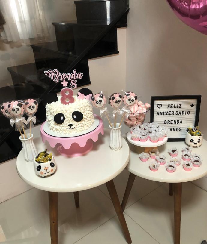 enfeites para mesa de aniversário tema panda rosa