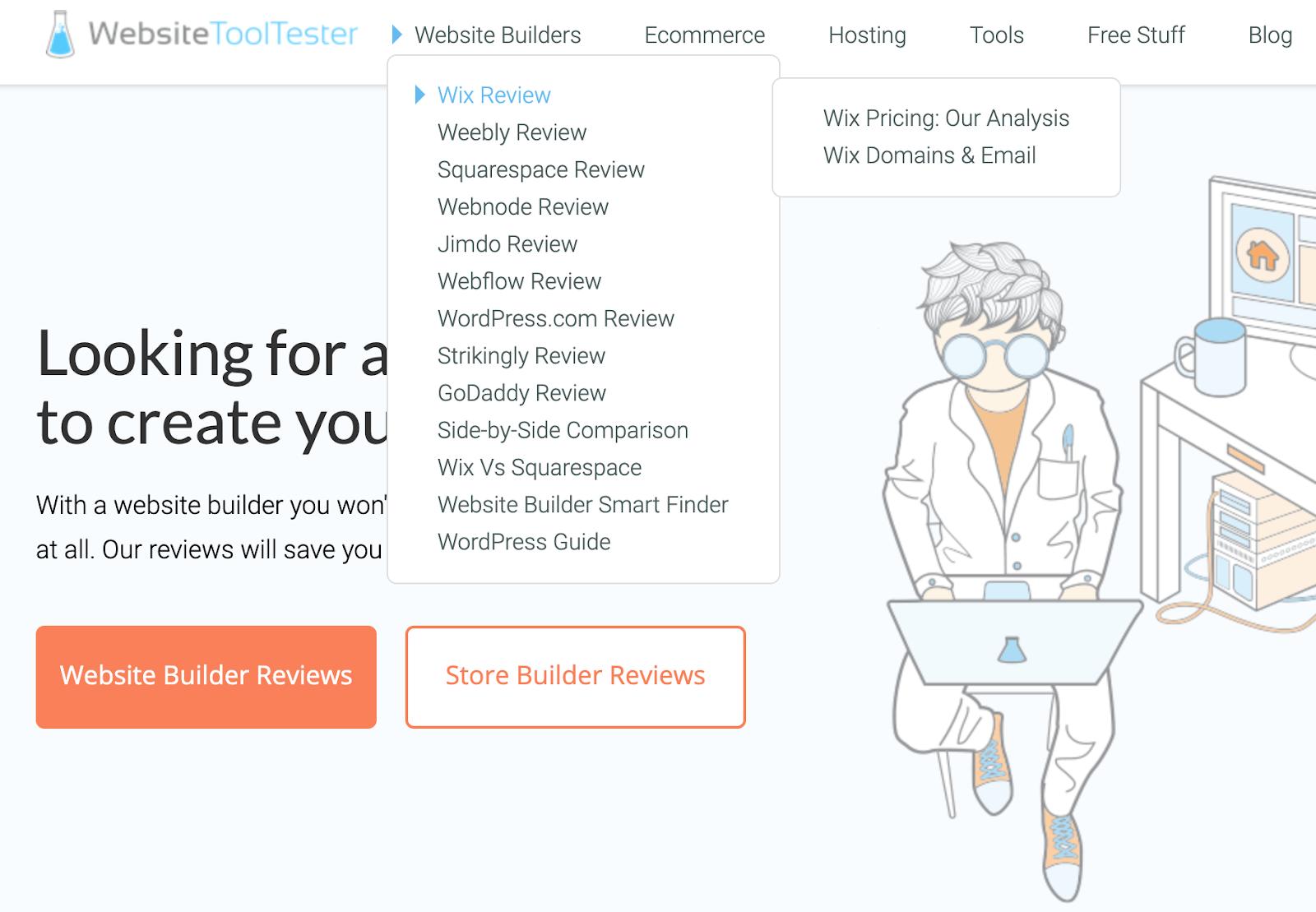 list of website builder reviews on websitetooltester's homepage