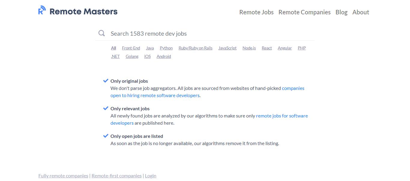 Remote Masters - Remote Jobs Website