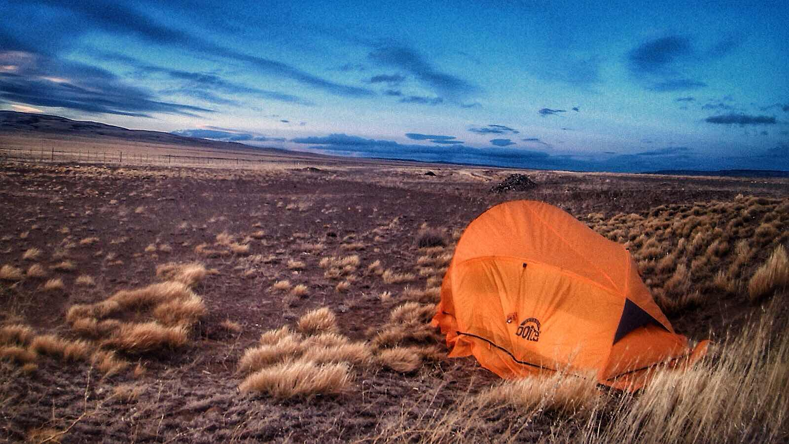 Pampas camping in Patagonia Argentina