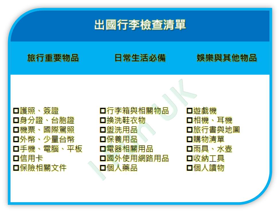 自由行出國行李檢查清單