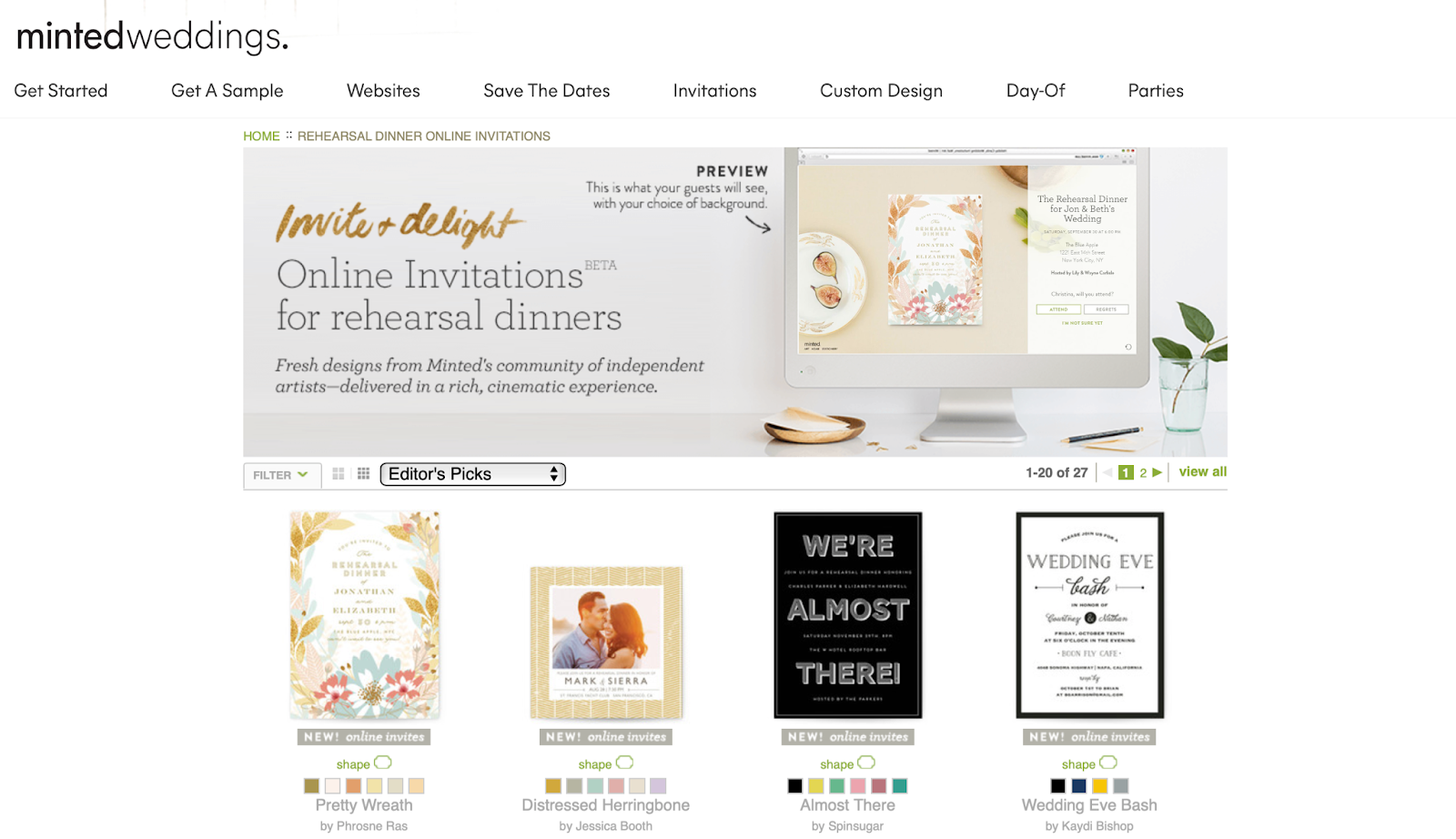 Photo of wedding oriented digital cards for rehearsal dinners and weddings from Minted