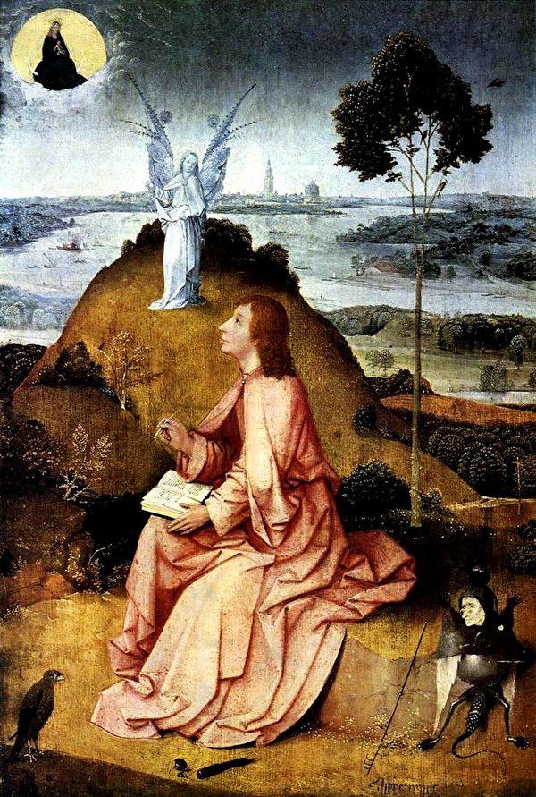 """Bức tranh của họa sĩ người Hà Lan mô tả Thánh John nhìn thấy cảnh """"Ngày tận thế""""."""