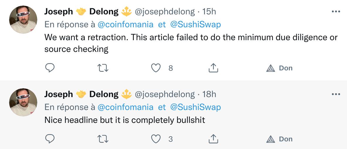 Commentaires Twitter de Jospeh Delong annonçant qu'il veut une rétractation à cause de la vulnérabilité non avérée sur Sushiswap