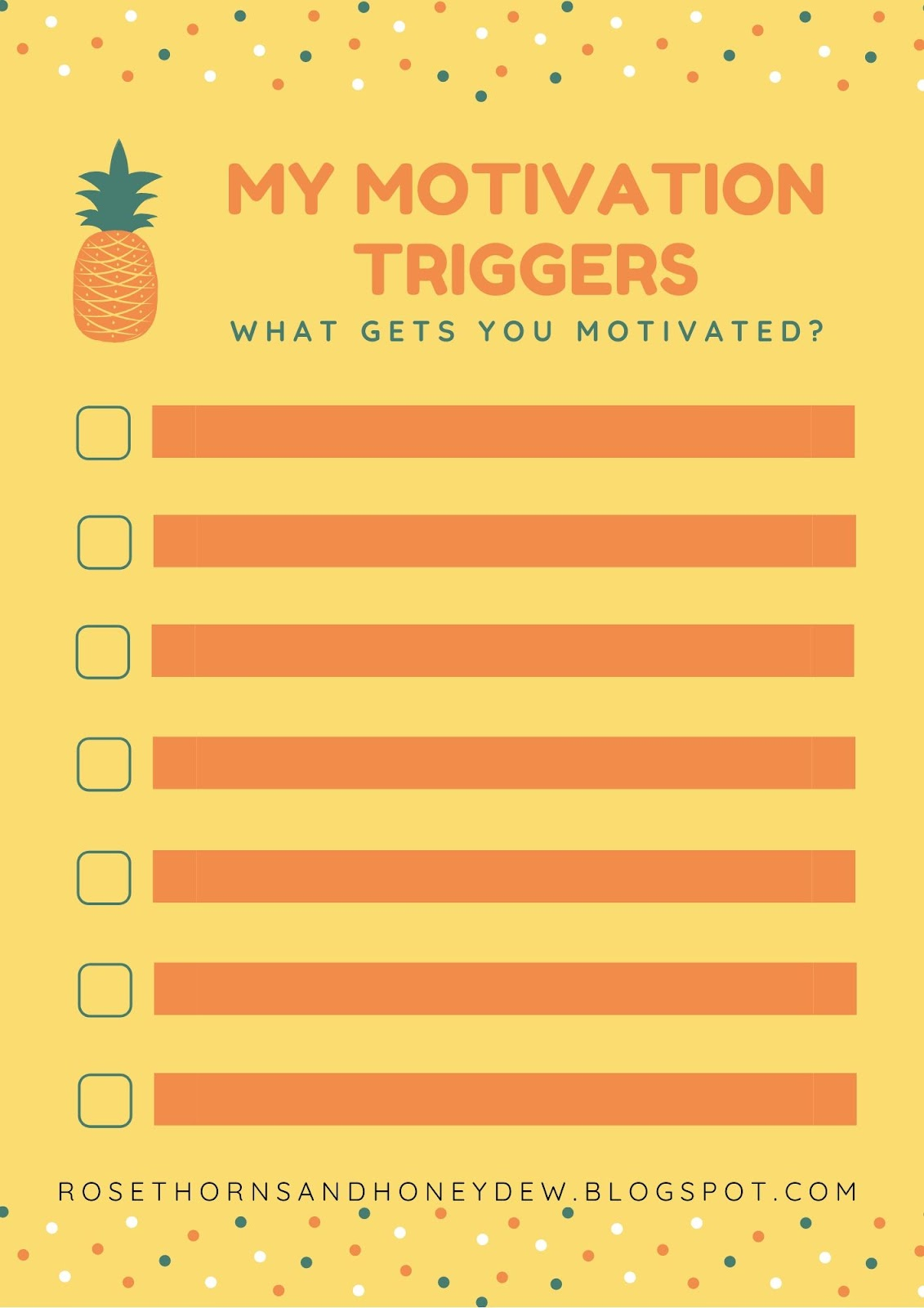 Motivations Triggers Productivity Worksheet from Rosethorns and Honeydew