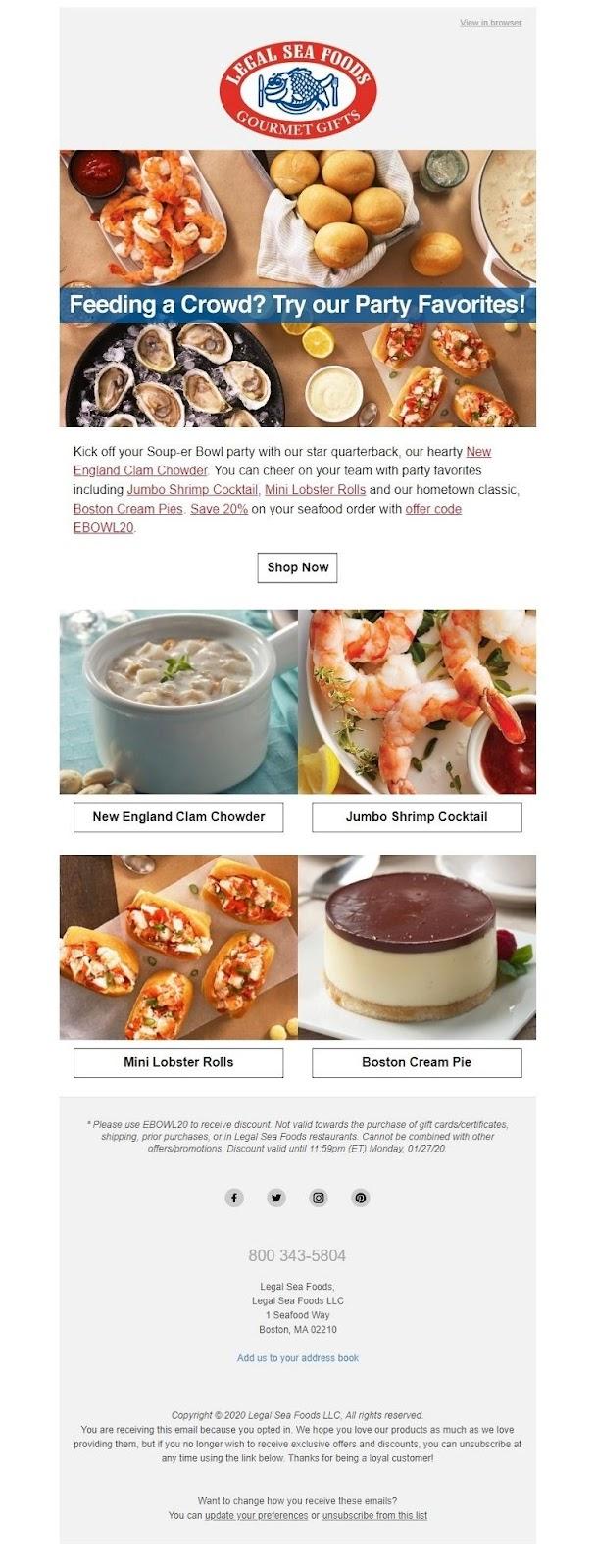 Legal Sea Foods newsletter