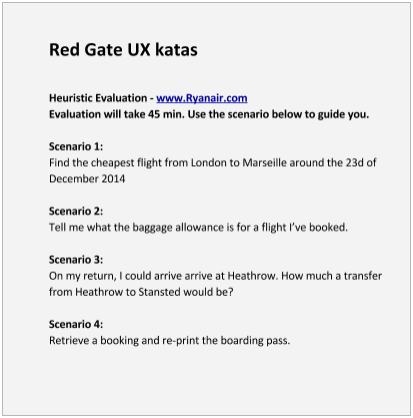 tasks for the Red Gate heuristic Evaluation kata