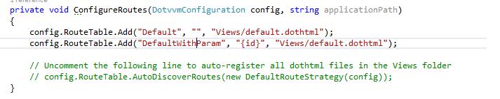 konfigurácia ciest v DotVVM