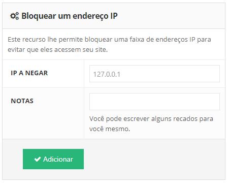 bloquear um endereço de ip no painel de controle da Hostinger