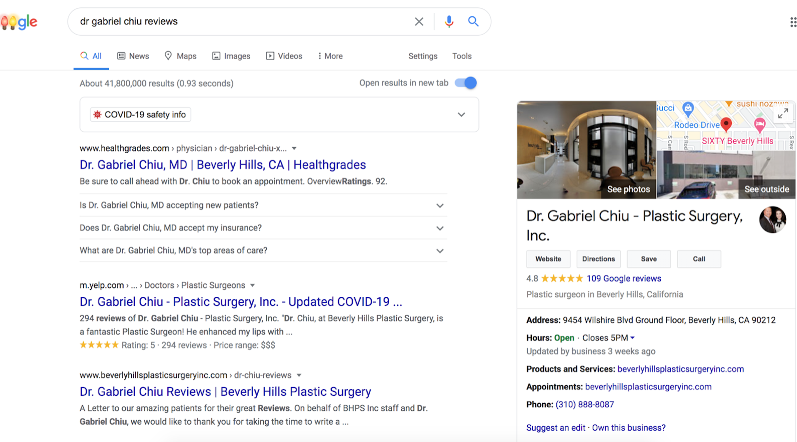 Google Search Engine Results Page (SERP) seeking a specific doctor's reviews with Google My Business Listing to the side.