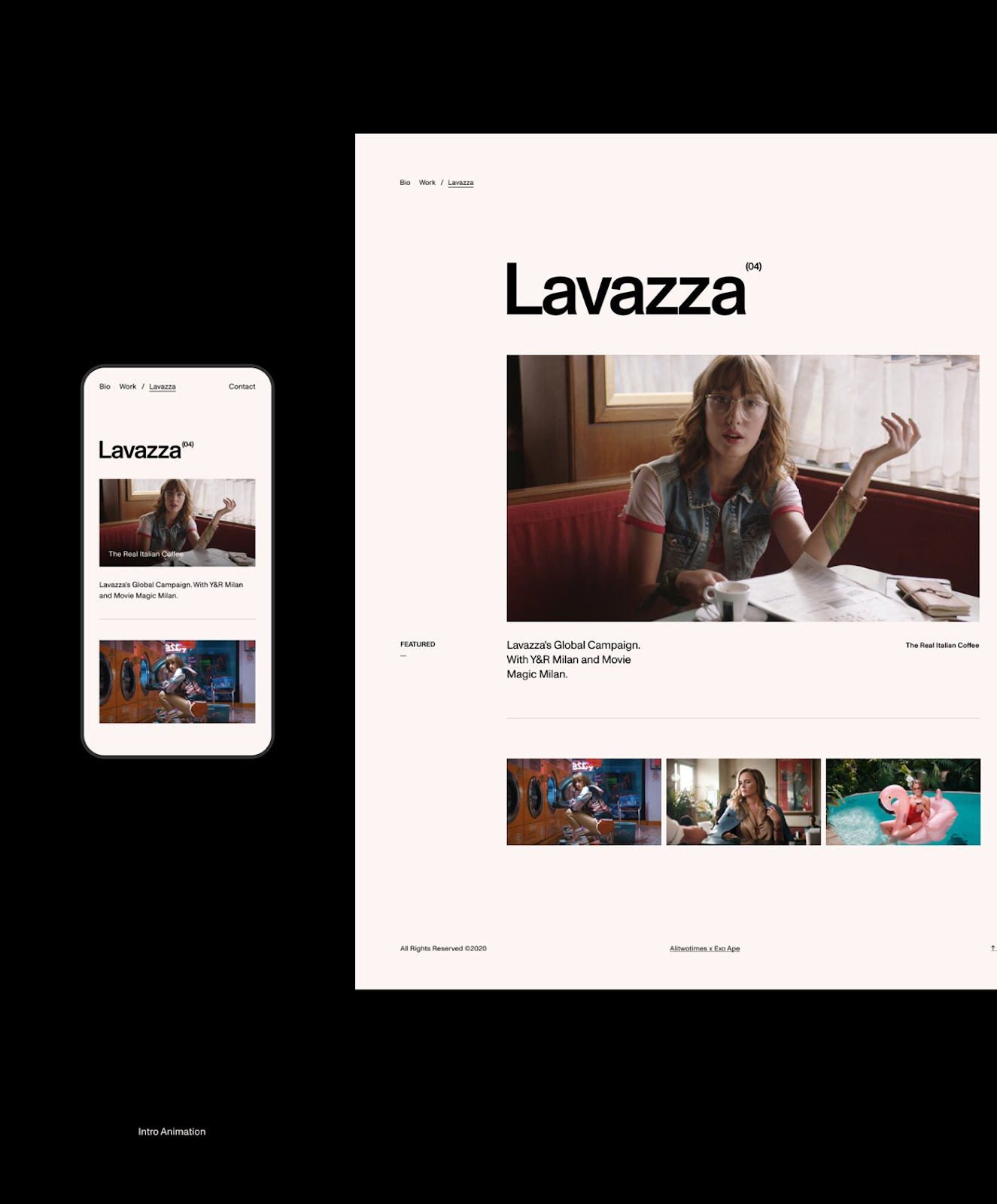 desktop and mobile design for a minimal swiss design portfolio website