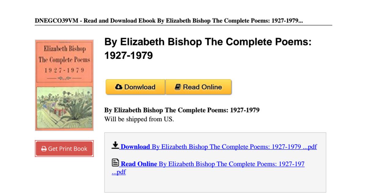 Elizabeth Bishop The Complete Poems B00n4f9jscpdf Google