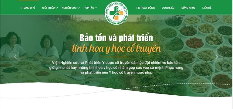 Giao diện trang chủ của website vienyduocdantoc.org.vn