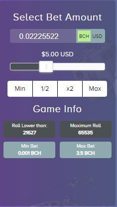 Satoshi Dice bet meter