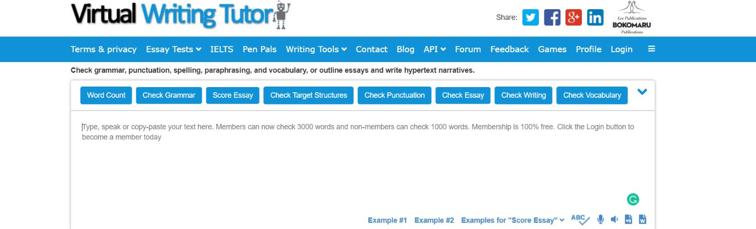 Virtual Writing Tutor  vs grammarly
