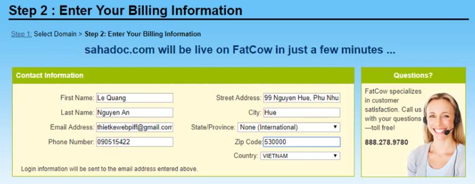 Đăng ký Fatcow Hosting - thông tin