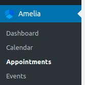 Amelia Online Booking System - Menu