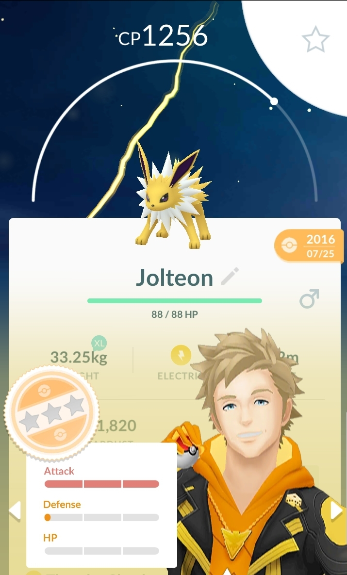 pokemoms go far away from this glass cannon of a jolteon. Image shows a yellow fox pokemon with his attack stat maxed at 15, a defense of 1, and HP of 0.