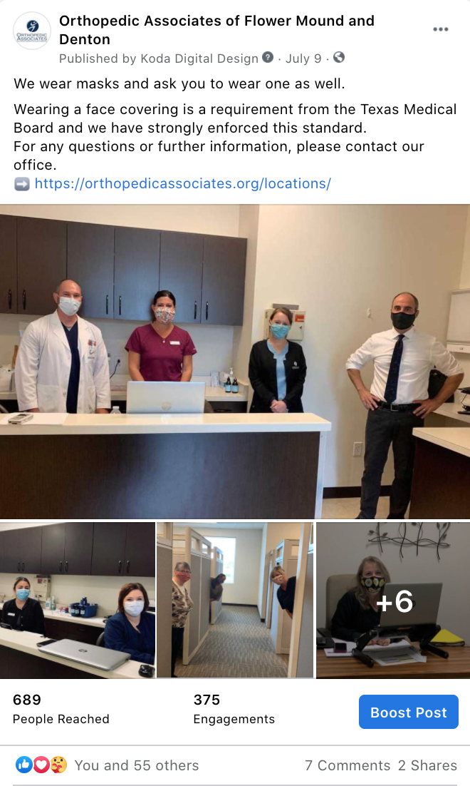 Example of social media post showing images of staff and doctors for personal effect.