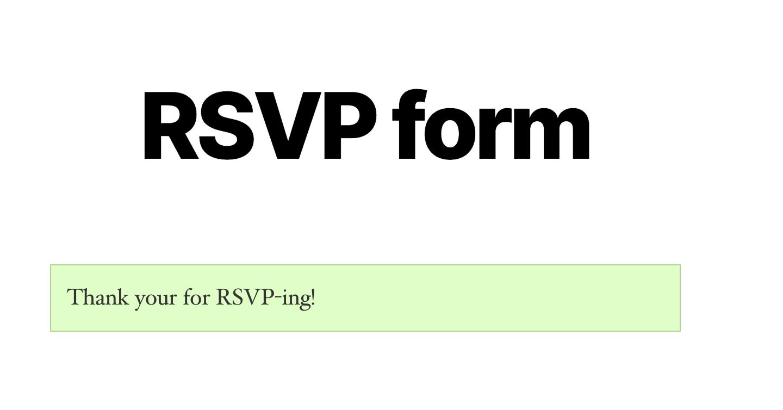 RSVP form confirmation WordPress