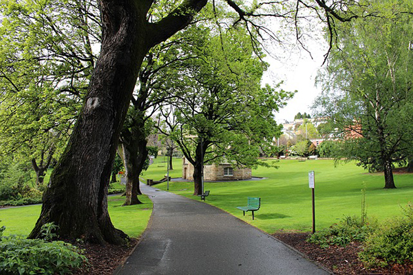 A path runs through the verdant green Saint David's Park in Hobart, Tasmania