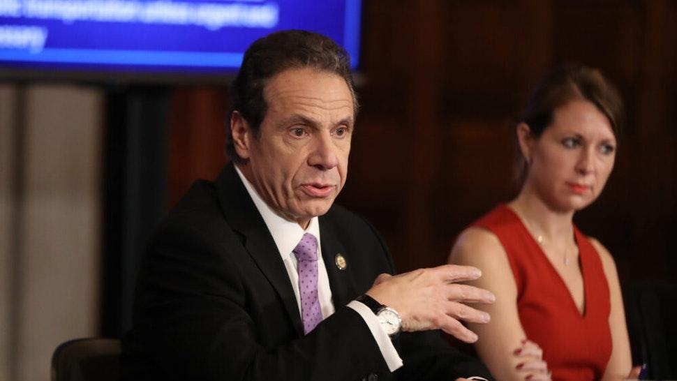 NEW YORK, NEW YORK - MARCH 20: New York Governor Andrew Cuomo (L) speaks during his daily news conference with Secretary to the Governor Melissa DeRosa (R) on March 20, 2020 in New York City. Cuomo ordered nonessential businesses to keep 100% of their workforce at home in an effort to combat the spread of the COVID-19 pandemic.