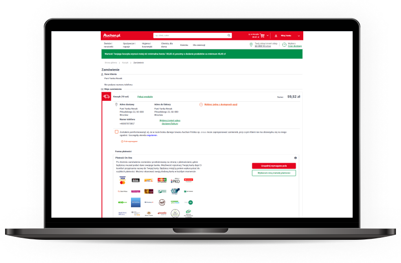 Webshop fejlesztés a lengyel Auchan számára