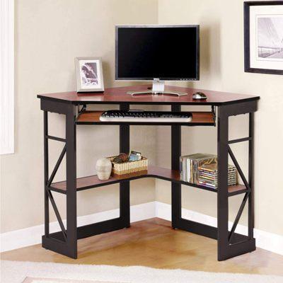 VECELO Corner Computer Desk With Keyboard Tray