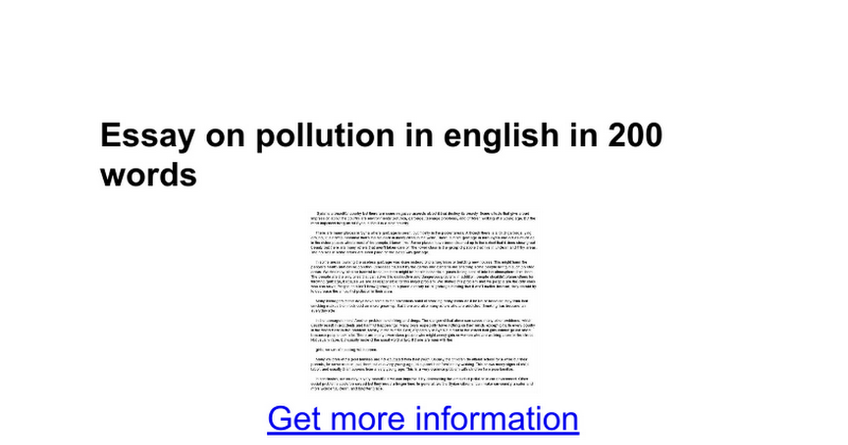 essay of pollution in english An essay on pollution in english | introduction d'une dissertation de philosophie uw home computer science sidebar site navigation.