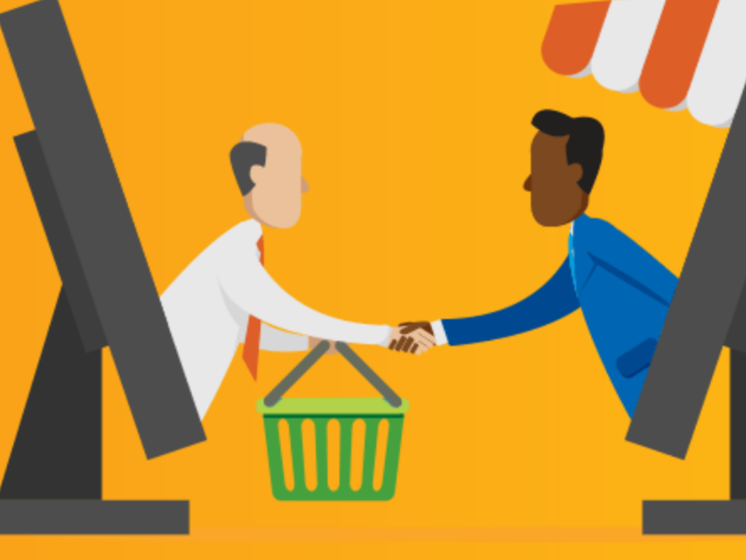 A buyer and a seller shaking hands after a transaction.