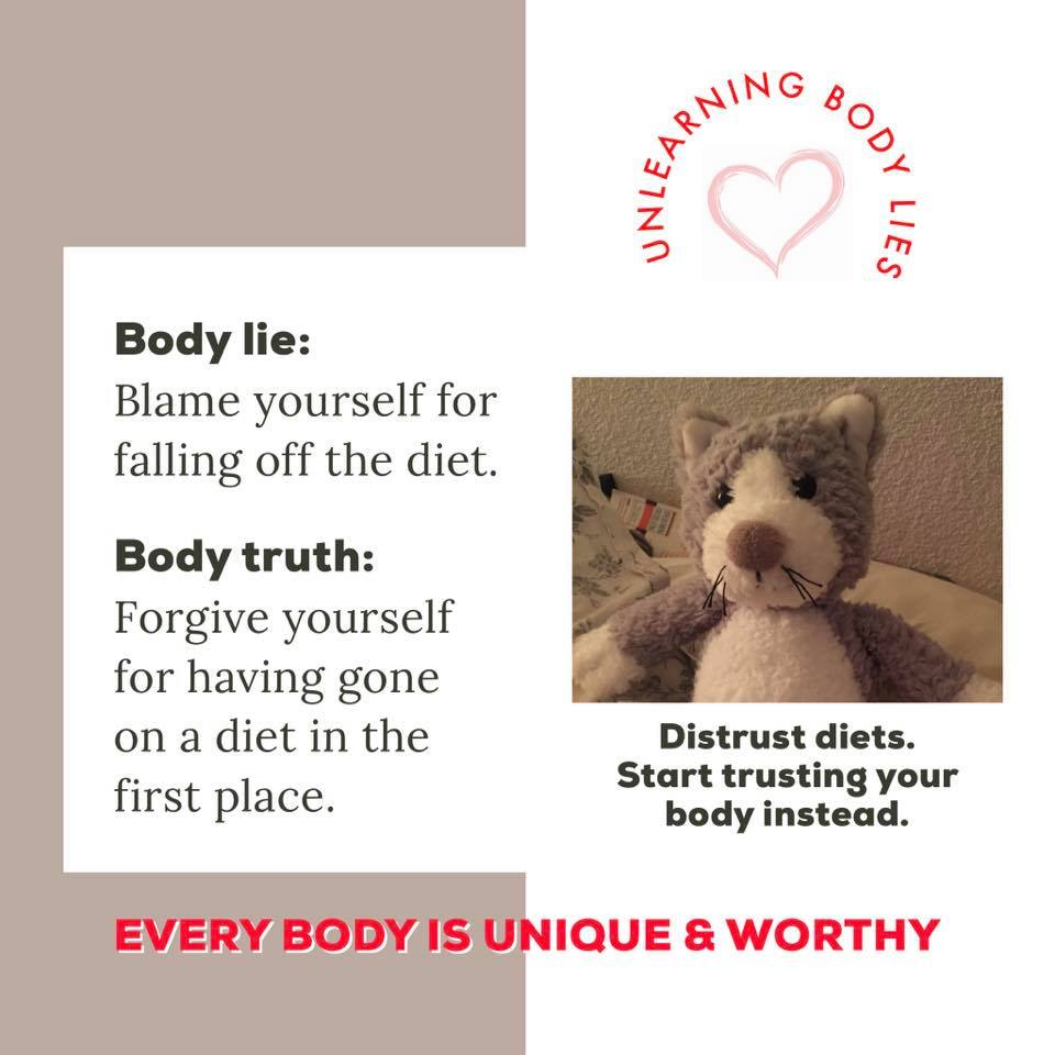 body image lie = blame yourself for going off the diet; body image truth = forgive yourself for having gone on a diet in the first place