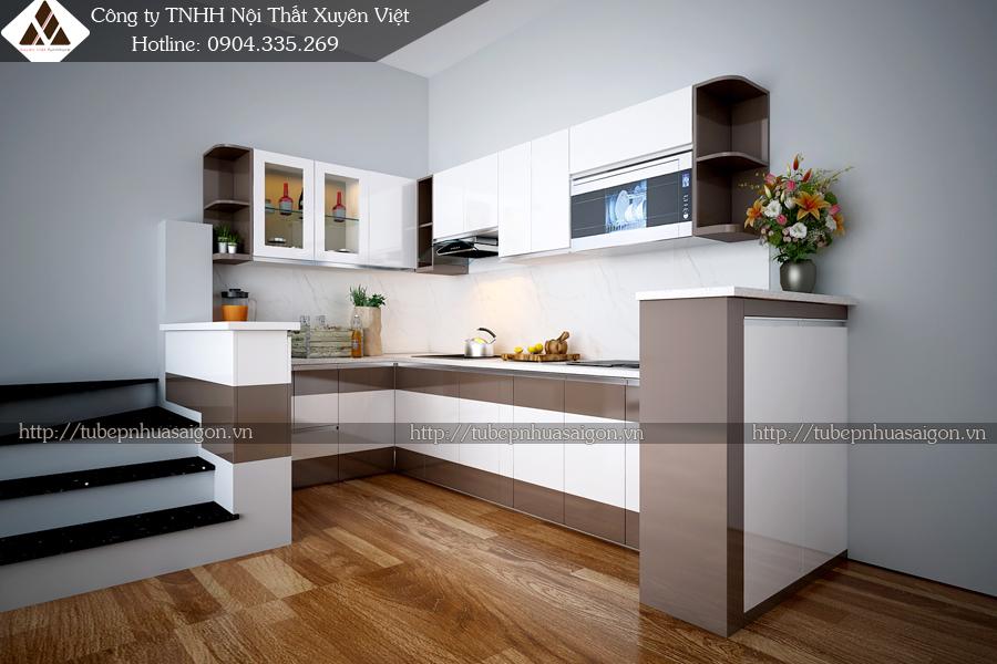 Mẫu tủ bếp đẹp bằng nhựa hình 2