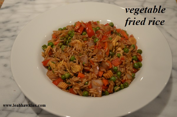 vegetable fried rice, from plated
