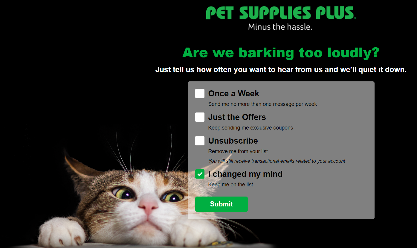 Pet Supplies Plus email preference example