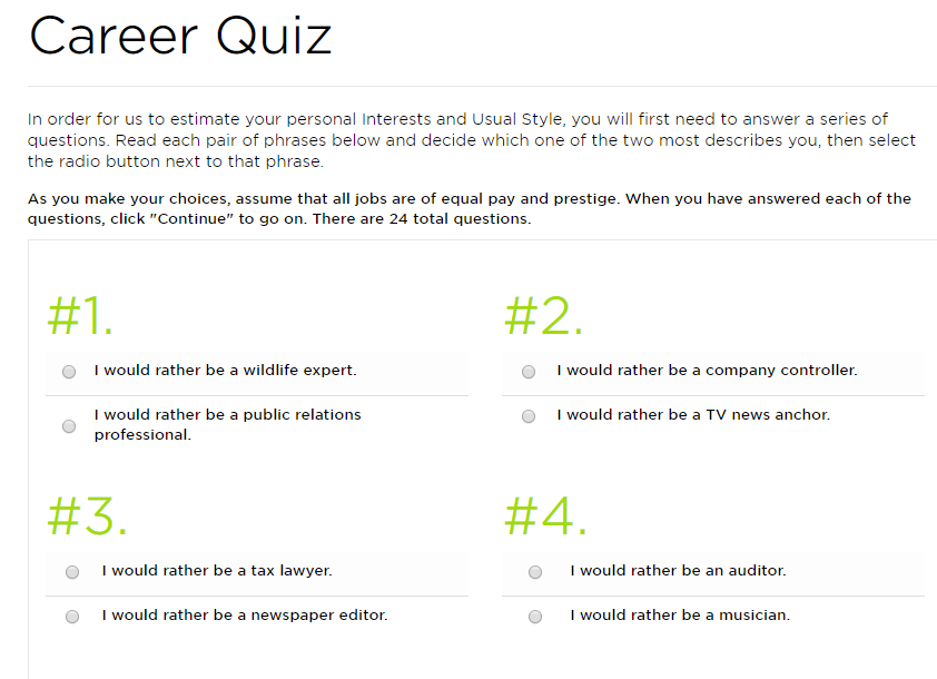 priceton review career quiz