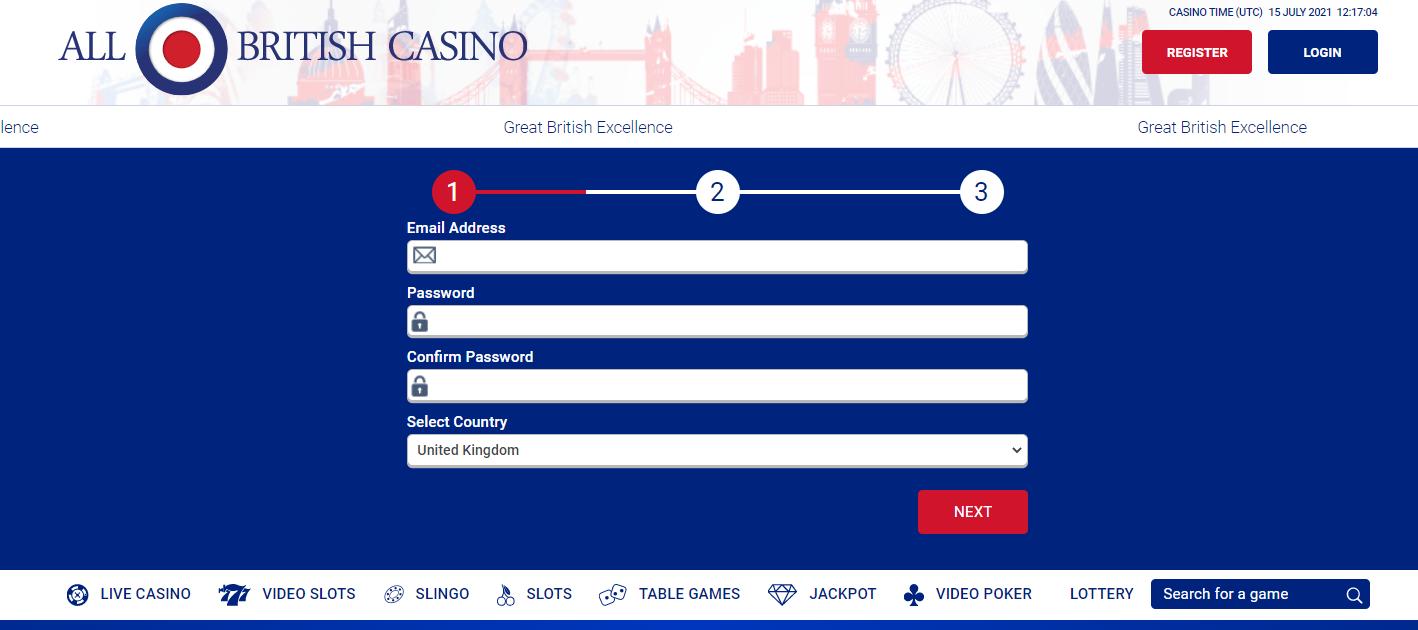 all british casino registration