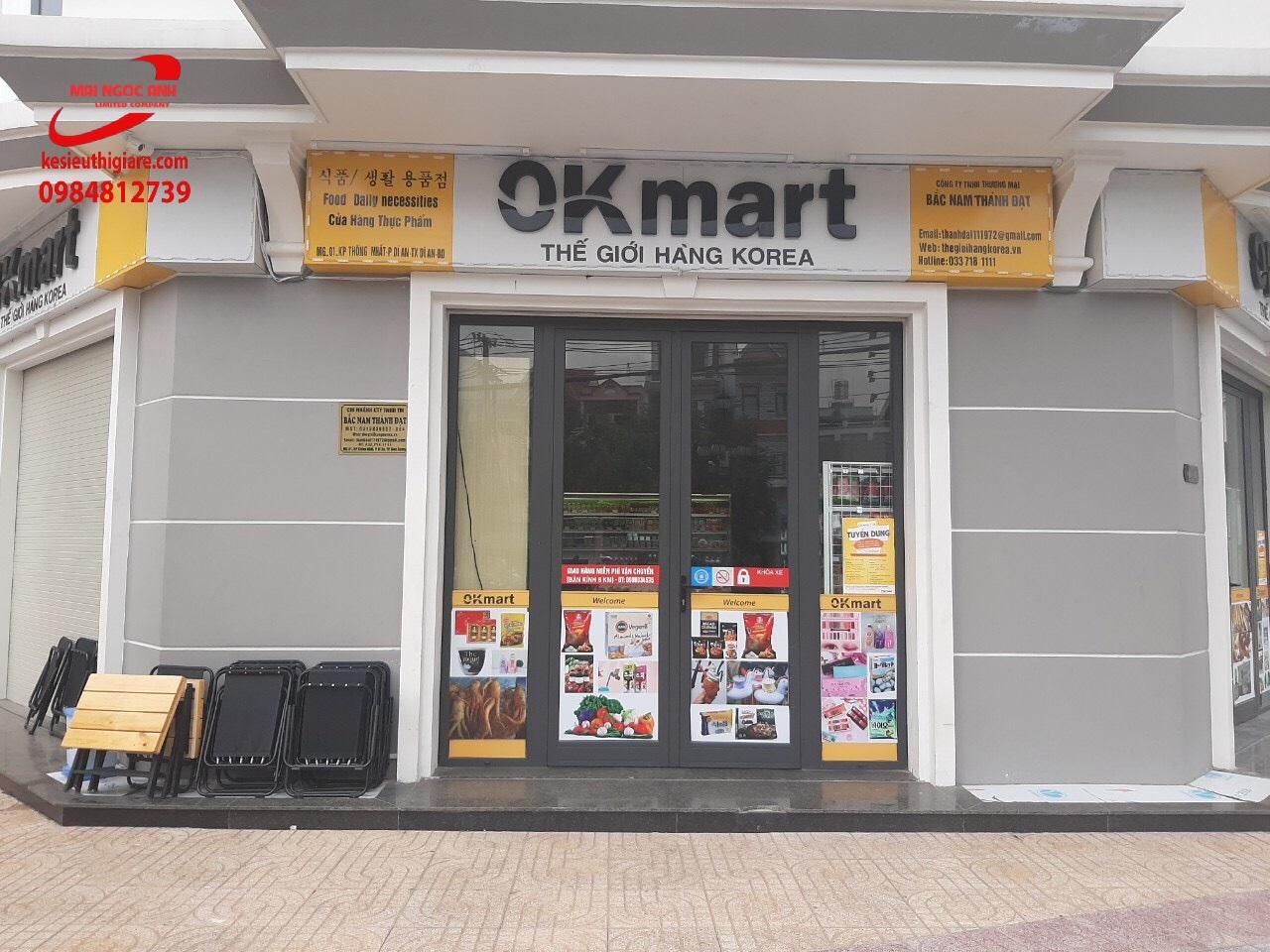 kệ siêu thị Mai Ngọc Anh lắp đặt cho cửa hàng ok mart