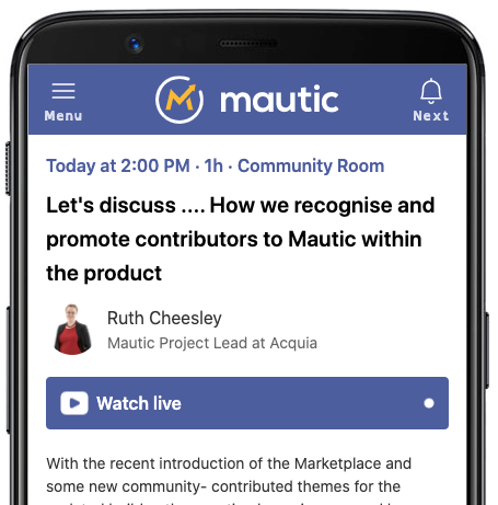 Screenshot of the Mautic Conference Global 2021 app