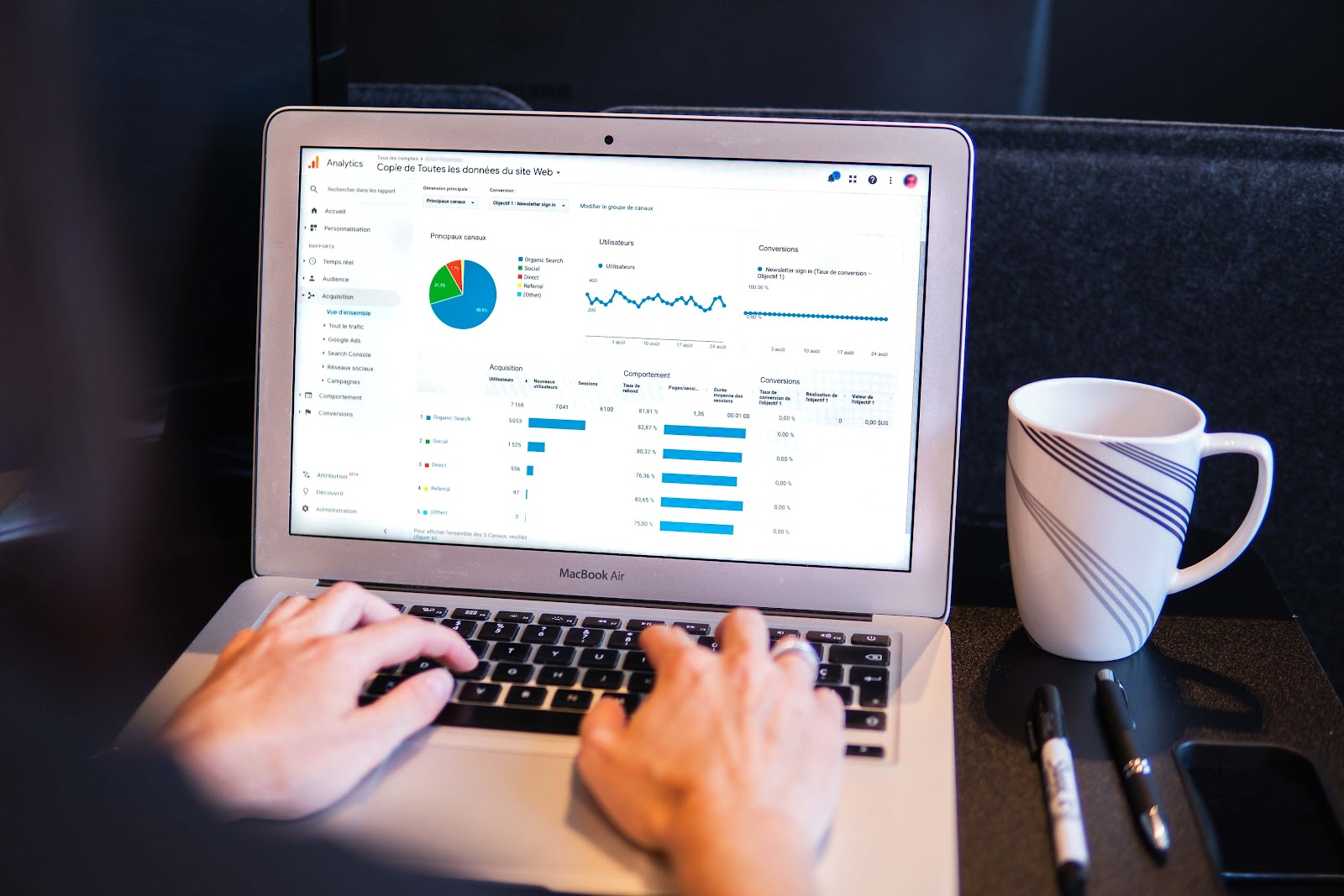 Tracking analytics on a laptop