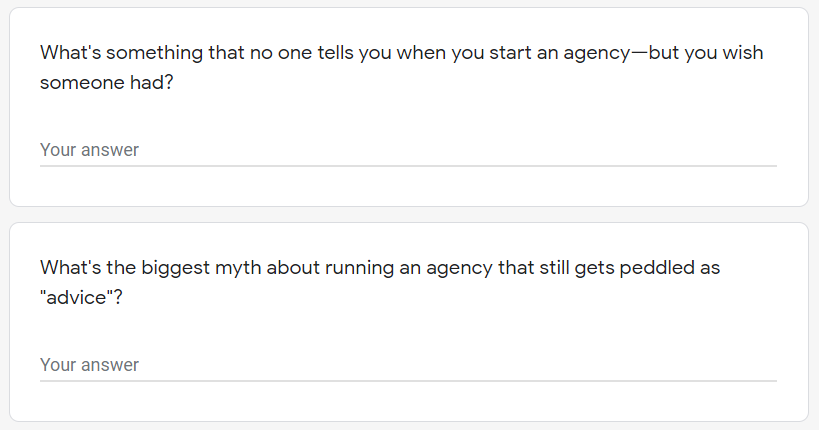 sample questions for survey of agency owners.