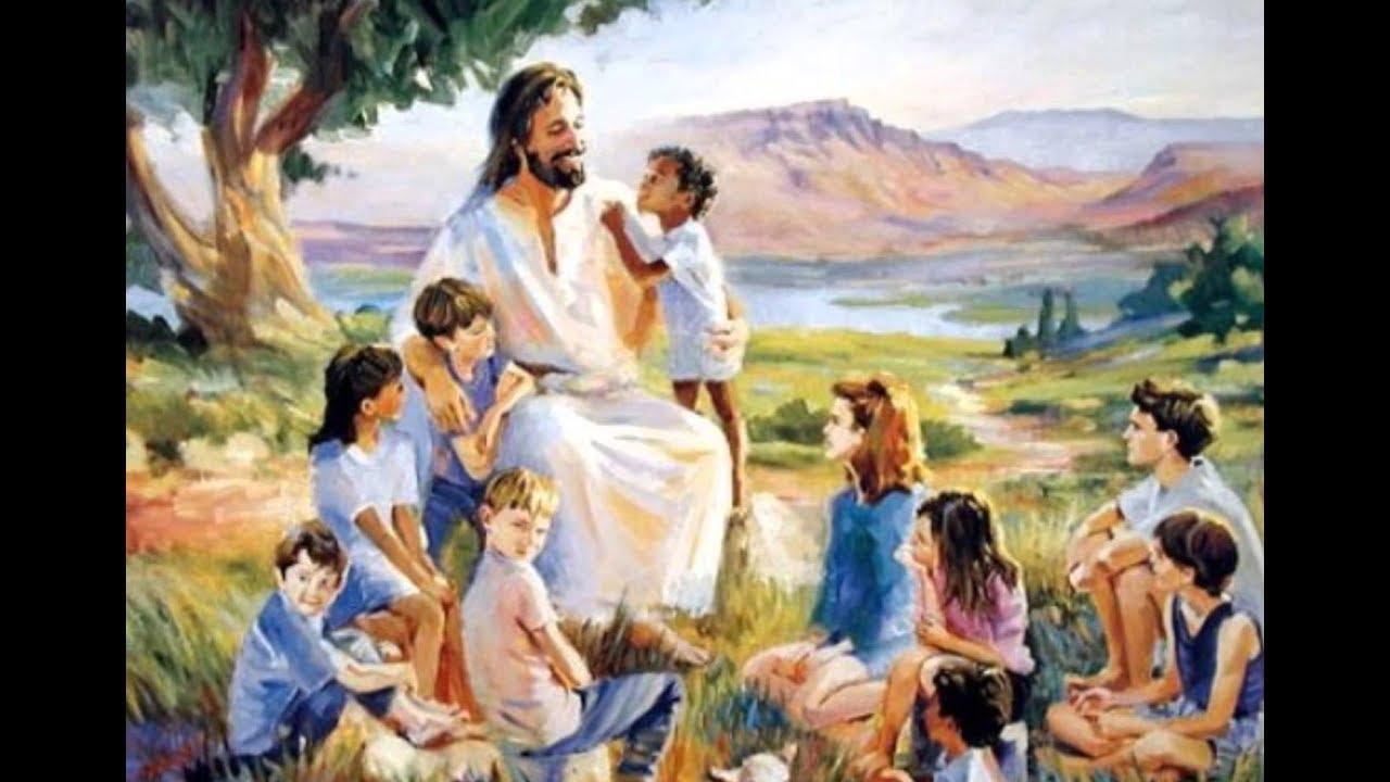 Jesus Christ gathered around with children.