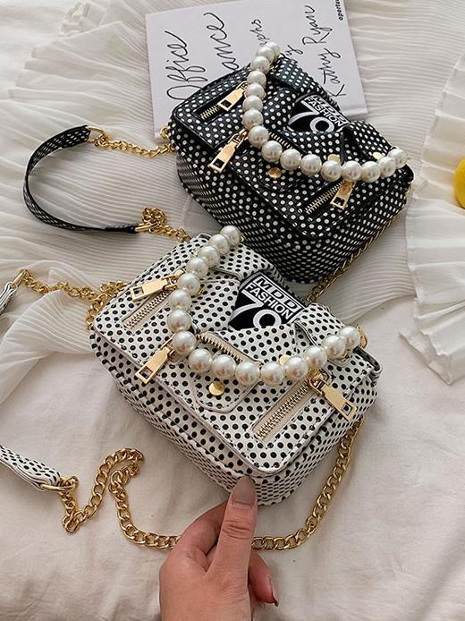 Creative Design Polka Dots Faux Pearls Handle Chain Shoulder Bag