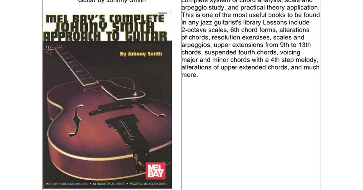 Mel Bays Complete Johnny Smith Approach To Guitar Google Docs