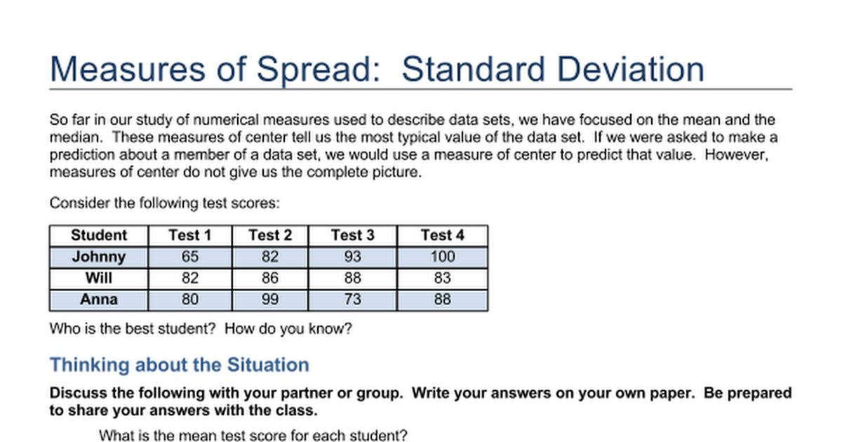 Measure Of Spread Standard Deviationcx Google Docs