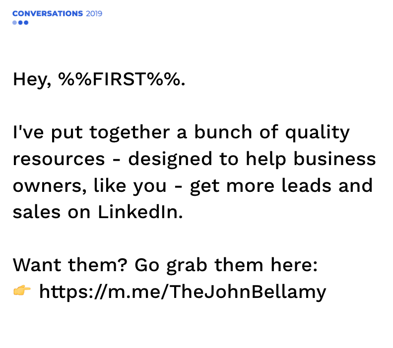 LinkedIn Lead Generation Examples from John Bellamy.